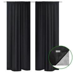 shumee 2 db fekete dupla rétegű sötétítőfüggöny 140 x 175 cm