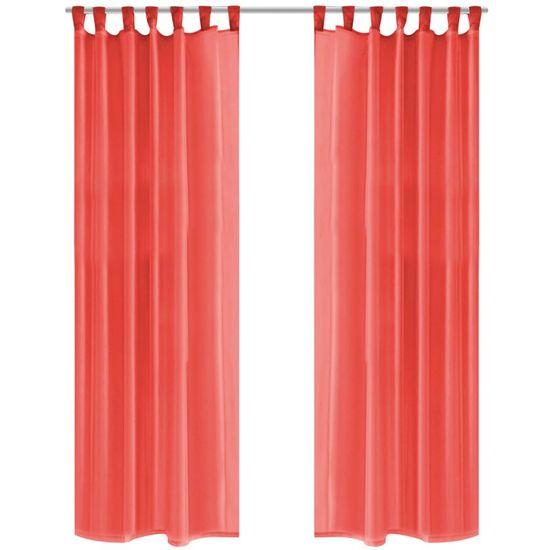 Záves z látky voál, 2 ks, 140 x 175 cm, červený