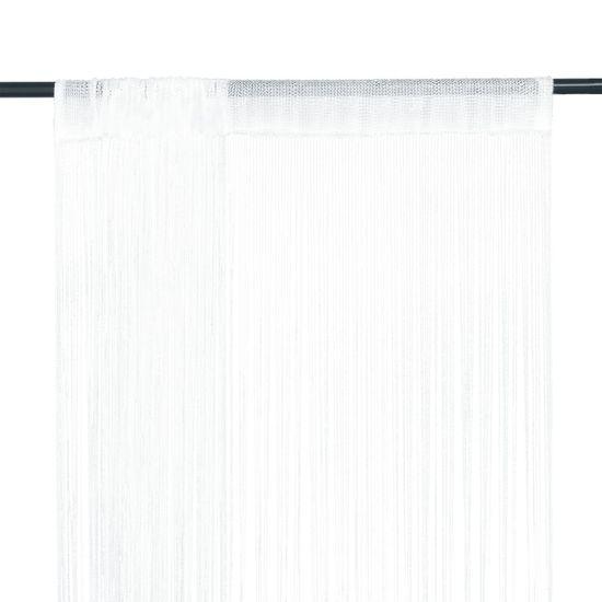 Šnúrkový záves, 2 ks, 100x250 cm, biely