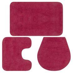 shumee Sada koupelnových předložek 3 kusy textilní fuchsiová