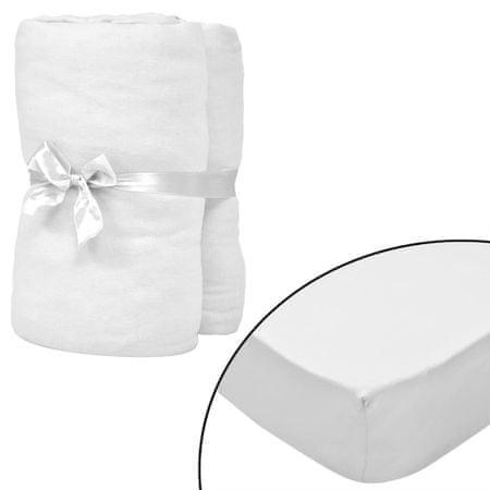 slomart Rjuhe za otroško posteljo 4 kosi bombažni džersi 40x80 cm bele