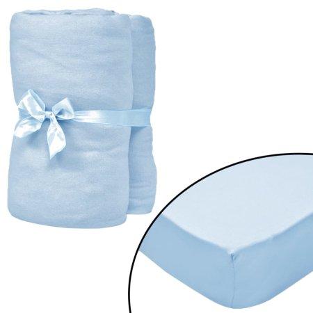 slomart Rjuhe za otroško posteljo 4 kosi bombaž 70x140 cm svetlo modre