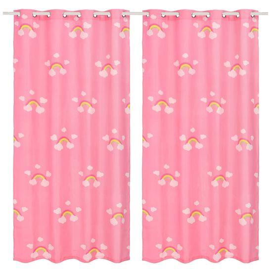 Detské zatemňovacie závesy 2 ks potlač dúhy 140x240 cm ružové