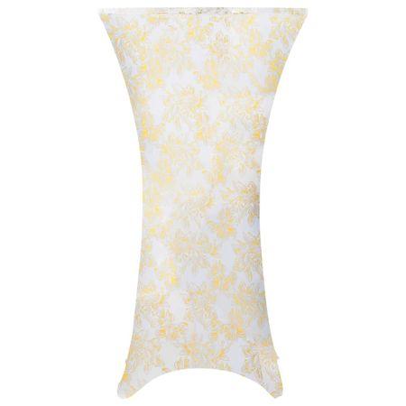 shumee 2 db fehér sztreccs asztalterítő aranyszínű mintával 80 cm