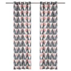 shumee 2 db szürke és rózsaszín pamutfüggöny fémgyűrűkkel 140 x 175 cm