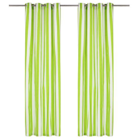 Vidaxl Závěsy s kovovými kroužky 2 ks textil 140 x 175 cm zelené pruhy