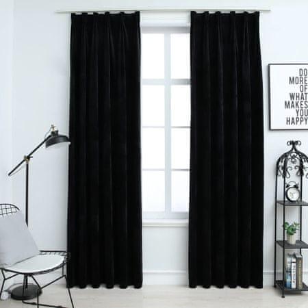 shumee Zatemnitvene zavese 2 kosa z obešali žametne črne 140x245 cm
