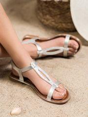 Exkluzívní dámské šedo-stříbrné sandály bez podpatku