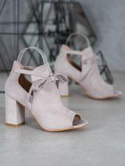 Vinceza Exkluzívní kotníčkové boty dámské šedo-stříbrné na širokém podpatku + Ponožky Sophia 2pack visone
