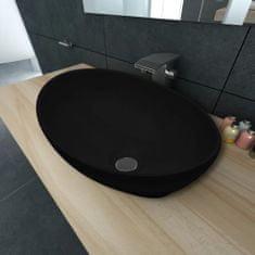 shumee Luxusné keramické umývadlo, oválny tvar, čierne, 40 x 33 cm