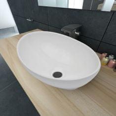 shumee Luxusní keramické umyvadlo oválné bílé 40 x 33 cm