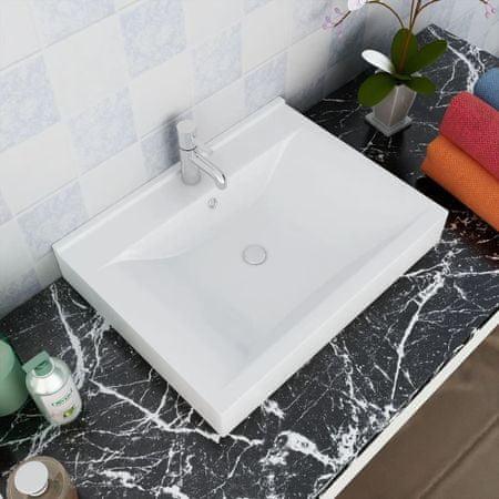 shumee Luksusowa umywalka prostokątna z otworem na kran, biała