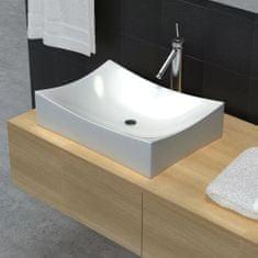 shumee Kúpeľňové keramické umývadlo, biele, vysoký lesk