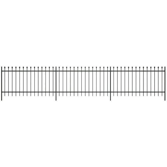Bezpečnostní palisádový plot s hroty ocel 600 x 100 cm černý