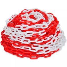shumee 30m dlhá plastová, červeno-biela výstražná reťaz