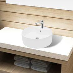 shumee Biele okrúhle keramické umývadlo do kúpeľne s otvorom na batériu