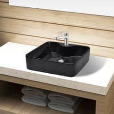 shumee Keramické umývadlo do kúpeľne s otvorom na batériu, čierne, štvorcové