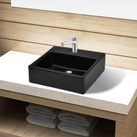 shumee Ceramiczna umywalka z otworem na kran, prostokątna, czarna