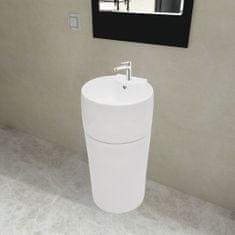 shumee Biele stojace okrúhle keramické umývadlo do kúpeľne s prepadom a otvorom na batériu