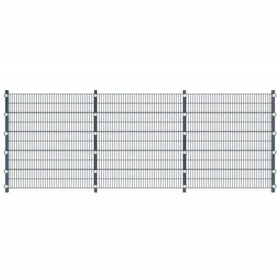 Plotový dílec se sloupky 6 x 2 m antracitově šedý
