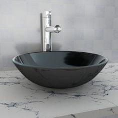 shumee Umývadlo z tvrdeného skla, 42 cm, čierne