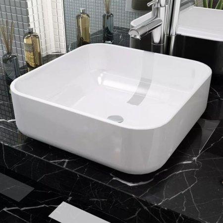 shumee Négyzet alakú, fehér kerámia mosdókagyló 38x38x13,5 cm