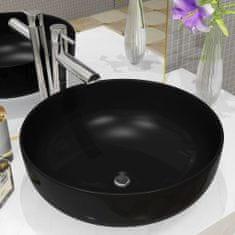 shumee Umývadlo keramické okrúhle čierne 41,5x13,5 cm