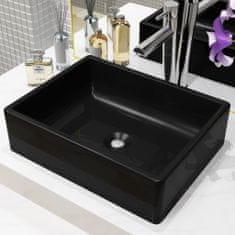 shumee Keramické umývadlo, obdĺžnikové, čierne, 41x30x12 cm