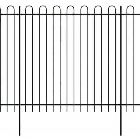 shumee Ogrodzenie palisadowe z łukami, stal, 600x200 cm, czarne