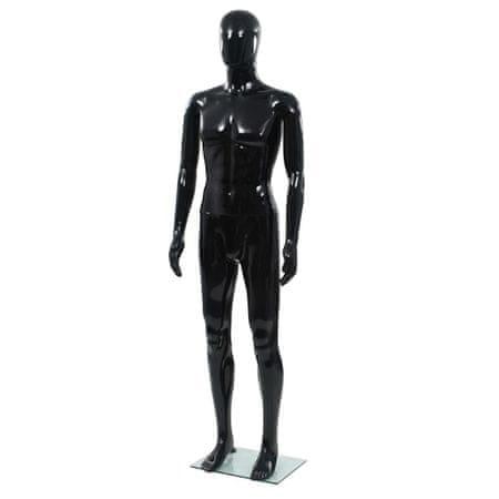 shumee Celotna moška izložbena lutka s stekleno osnovo črna 185 cm