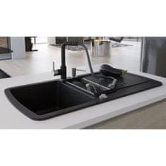 Granitový kuchynský drez s dvomi vaničkami, čierny