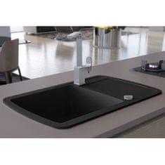 Granitový kuchynský drez s jednou vaničkou, čierny