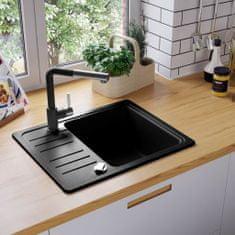 shumee Granitový kuchynský drez s jednou vaničkou, čierny