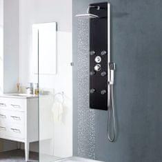 shumee Sprchový panel, sklo 25x44,6x130 cm, čierny