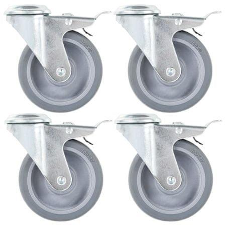 8 skrętnych kółek z otworem na śrubę, 100 mm