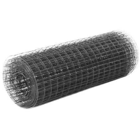 shumee Ogrodzenie z siatki, stal i PVC, 10x0,5 m, szare