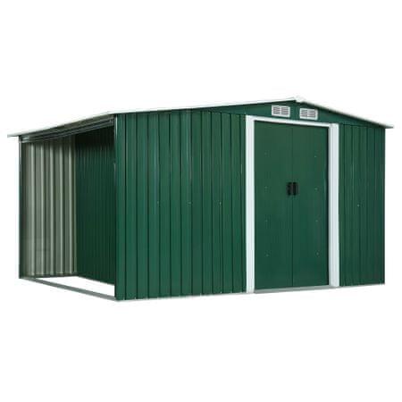 shumee zöld acél kerti fészer tolóajtókkal 329,5x131x178 cm