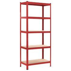 Skladový regál červený 80 x 40 x 180 cm ocel a MDF