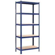 Skladový regál modrý 80 x 40 x 180 cm ocel a MDF