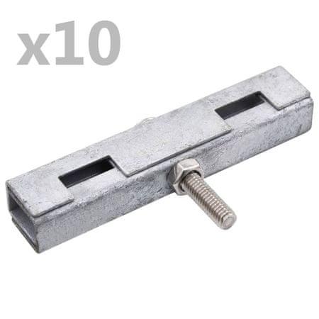 shumee 10 szett ezüstszínű U-alakú kerítés-összekötő elem