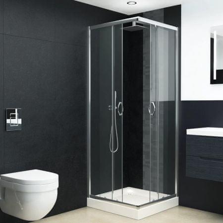 Kabina prysznicowa z brodzikiem, bezpieczne szkło, 80x80x185 cm