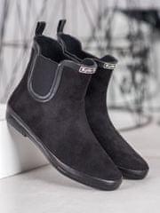 Pohodlné gumáky dámské černé na plochém podpatku