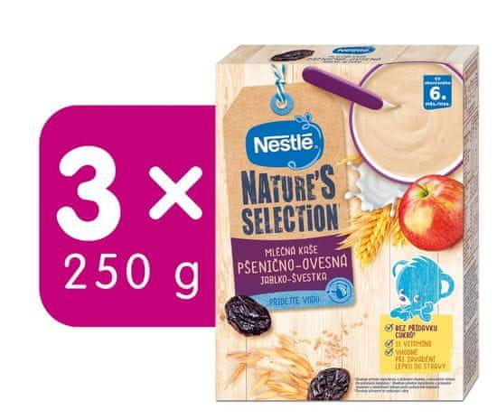 Nestlé Mléčná kaše Pšenično-ovesná Jablko Švestka 3x250 g + dárek