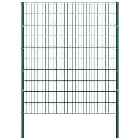 Panel ogrodzeniowy ze słupkami, żelazny, 1,7 x 2 m, zielony