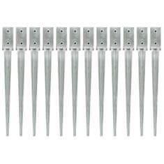 Kotvící hroty 12 ks stříbrné 7 x 7 x 75 cm pozinkovaná ocel