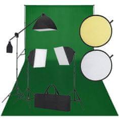shumee Studiová sada: zelené pozadí, 3 trvalá světla a odrazová deska