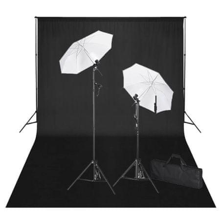 shumee Studijski komplet s črnim ozadjem 600 x 300 cm in luči