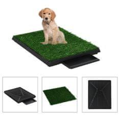 shumee Domáca toaleta pre psy s podnosom a umelou trávou zelená 63x50x7 cm