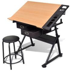 shumee Kreslící stůl sklopný se dvěma zásuvkami a stoličkou