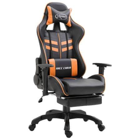 shumee Gaming stol z oporo za noge oranžno umetno usnje